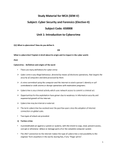 Study Material for MCA (SEM-V) Subject: Cyber Security and