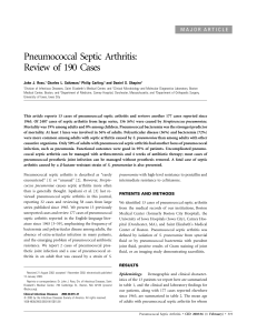 Pneumococcal Septic Arthritis: Review of 190 Cases