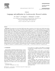 Language and publication in Cardiovascular Research articles