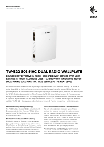 TW-522 802.11ac Dual Radio Wallplate Specification Sheet