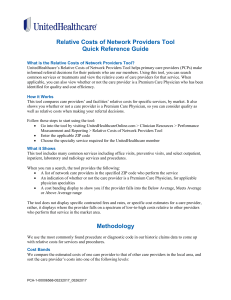 Relative Costs of Network Providers Tool Quick Reference Guide
