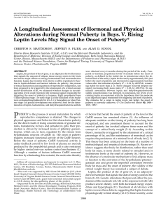 A Longitudinal Assessment of Hormonal and Physical