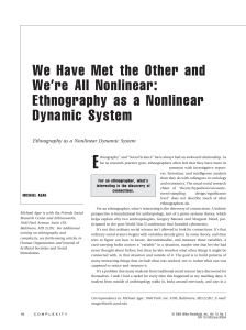 Ethnography as a nonlinear dynamic system