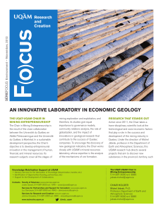 an innovative laboratory in economic geology