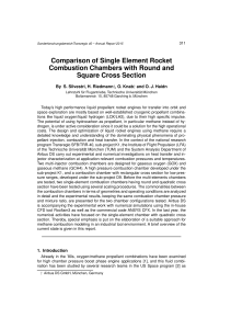 Comparison of Single Element Rocket Combustion - SFB