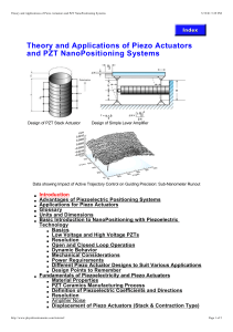 Theory and Applications of Piezo Actuators and PZT
