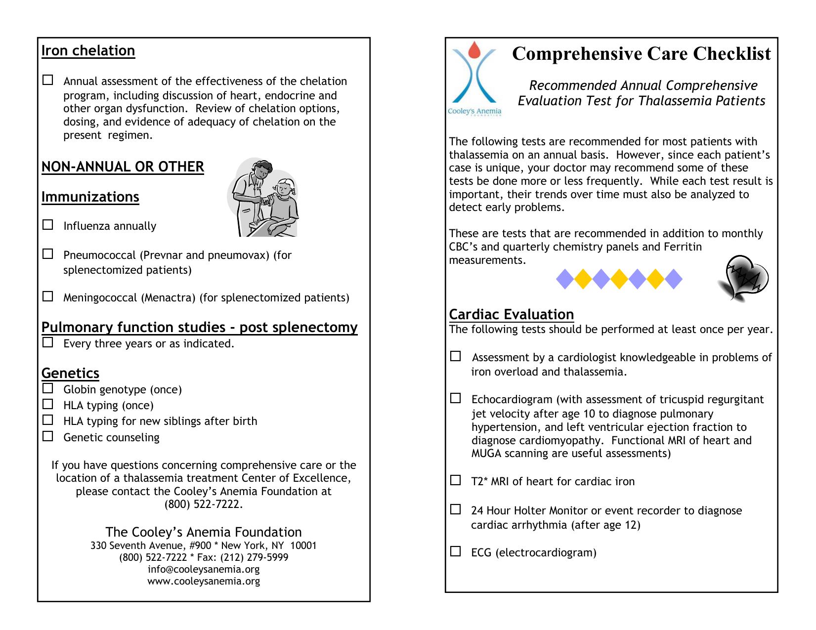 Comprehensive Care Checklist