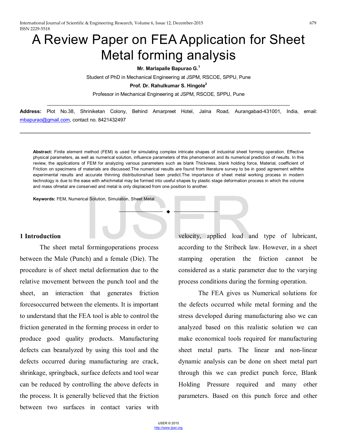 A Review Paper on FEA Application for Sheet Metal forming