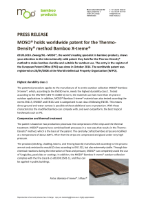 MOSO® holds worldwide patent for the Thermo-Density