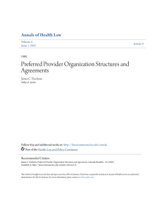Preferred Provider Organization Structures and