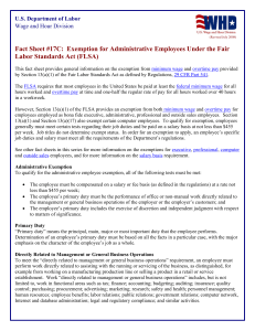 FLSA Exemption for Administrative Employees