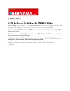 KLCC Q4 Pre-tax Profit Rises To RM849.59 Million