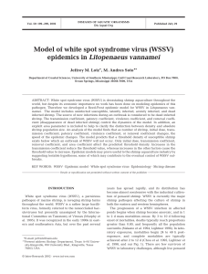 Model of white spot syndrome virus (WSSV) epidemics in
