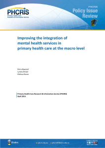 Improving the integration of mental health services in primary health