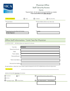 Physician Office Staff Security Access Form Office Staff Information