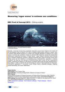 Measuring `rogue waves` in extreme sea conditions