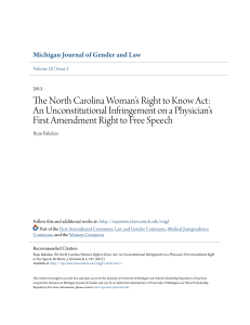 The North Carolina Woman`s Right to Know Act