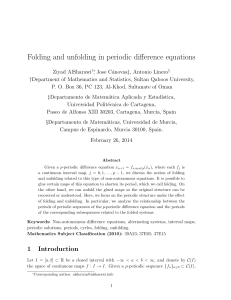 Folding and unfolding in periodic difference equations