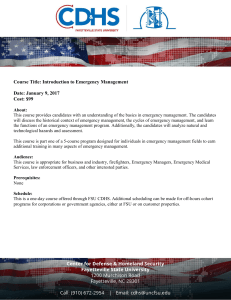 Introduction to Emergency Management - CDHS