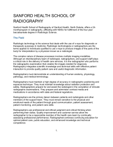 SANFORD HEALTH SCHOOL OF RADIOGRAPHY