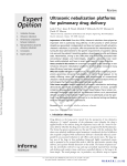 Ultrasonic nebulization platforms for pulmonary drug